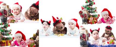 Collage del bebé y del juguete de Papá Noel en la Navidad en fondo blanco aislado. Imagen de archivo libre de regalías