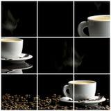 Collage del caffè sopra fondo nero Fotografia Stock Libera da Diritti