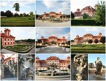 Collage del castello di Troya a Praga immagine stock libera da diritti