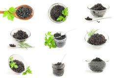 Collage del caviale nero Fotografia Stock Libera da Diritti