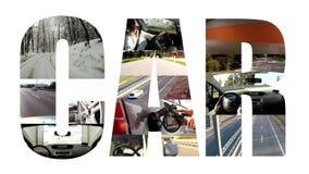 Collage del coche en blanco almacen de video