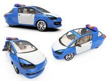 Collage del coche policía aislado del concepto Foto de archivo libre de regalías