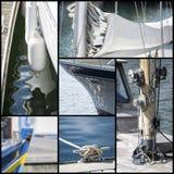 Collage del colpo del dettaglio delle barche a vela dell'yacht Fotografia Stock Libera da Diritti