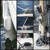 Collage del colpo del dettaglio delle barche a vela dell'yacht Fotografie Stock Libere da Diritti
