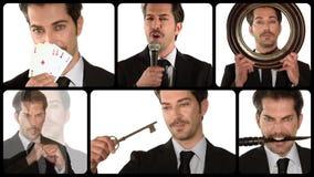 Collage del concepto del negocio almacen de metraje de vídeo