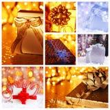 Collage del concepto del regalo de la Navidad Imagen de archivo