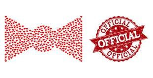 Collage del corazón del amor del icono de la corbata de lazo y de la filigrana de goma stock de ilustración