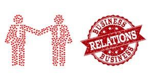 Collage del corazón del amor del icono de las relaciones de los hombres de negocios y de la filigrana de goma stock de ilustración
