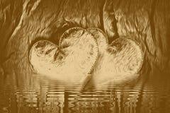 Collage del corazón del oro para la textura de las ilustraciones del amor, dos libre illustration