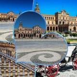 Collage del cuadrado Sevilla, Andalucía, España de espana España de la plaza Imagenes de archivo