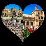 Collage del cuadrado Sevilla, Andalucía, España de espana España de la plaza Foto de archivo libre de regalías