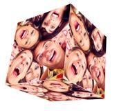 Collage del cubo di sorriso della gente. fotografia stock libera da diritti