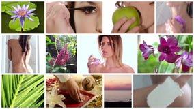 Collage del cuidado de la belleza almacen de metraje de vídeo