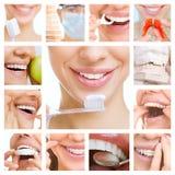 Collage del cuidado dental (servicios dentales) Foto de archivo libre de regalías