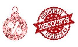 Collage del cuore di amore dell'icona della palla di sconto di Natale e della guarnizione di lerciume illustrazione di stock