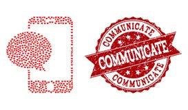 Collage del cuore di amore dell'icona e del timbro di gomma del messaggio di Smartphone royalty illustrazione gratis