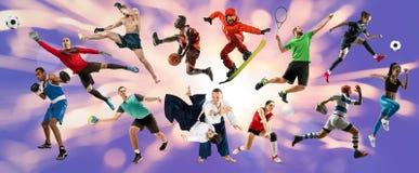Collage del deporte sobre atletas o jugadores r fotos de archivo libres de regalías