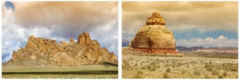 Collage del deserto di Moab Utah della roccia della chiesa Immagine Stock