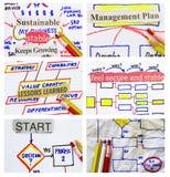 Collage del diagramma di flusso trattato Fotografie Stock