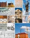 Collage del diseño y de la construcción de un edificio fotografía de archivo libre de regalías