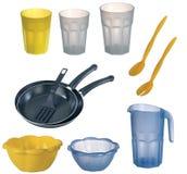 Collage del dishware, utensile. Fotografia Stock Libera da Diritti