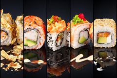 Collage del diverso menú del restaurante japonés del sushi en fondo negro imagenes de archivo