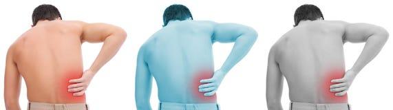 Collage del dolor de espalda Imágenes de archivo libres de regalías