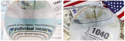 Collage del efectivo de la bandera de las formas del IRS 1040 del patriotismo Imagen de archivo