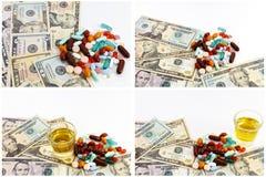 Collage del efectivo de la medicina de las drogas de las píldoras del narcótico imagen de archivo libre de regalías