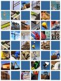 Collage del emplazamiento de la obra Foto de archivo