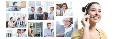 Collage del equipo de la ayuda del servicio de atención al cliente en centro de atención telefónica foto de archivo libre de regalías