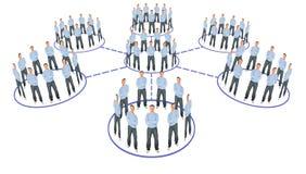 Collage del esquema del sistema de la cooperación de la gente Imagenes de archivo