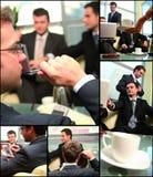 Collage del establecimiento de una red de la unidad de negocio foto de archivo libre de regalías