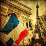 Collage del estilo del vintage de iconos parisienses fotos de archivo libres de regalías