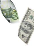 Collage del euro y del billete de dólar aislado en blanco Imagenes de archivo