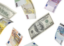 Collage del euro y del billete de dólar aislado en blanco Foto de archivo