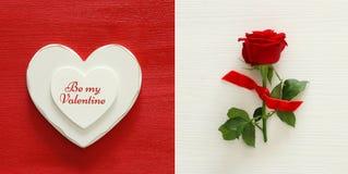 Collage del fondo di giorno di biglietti di S. Valentino Il cuore ed il colore rosso sono aumentato Vista superiore Immagini Stock