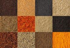Collage del fondo differente delle spezie Accumulazione delle spezie Fotografia Stock