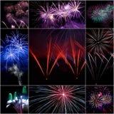 Collage del fuego artificial Imagen de archivo