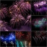 Collage del fuego artificial Fotografía de archivo