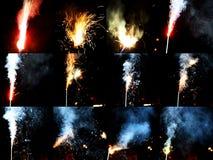 Collage del fuego artificial imágenes de archivo libres de regalías