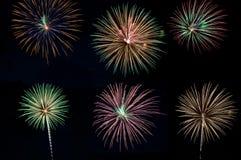 Collage del fuoco d'artificio Fotografie Stock Libere da Diritti