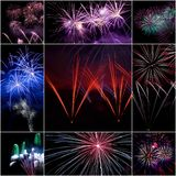 Collage del fuoco d'artificio Immagine Stock