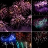 Collage del fuoco d'artificio Fotografia Stock