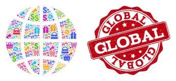 Collage del globo del mosaico y del sello de la desolación para las ventas stock de ilustración