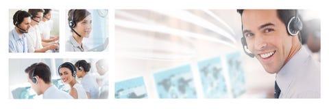 Collage del gruppo di aiuto di servizio di assistenza al cliente nella call center immagine stock libera da diritti