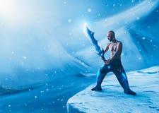 Collage del hombre con una espada en invierno Imagen de archivo