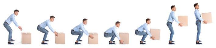 Collage del hombre que levanta la caja de cartón pesada en el fondo blanco fotos de archivo