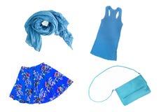collage del isola femenino azul de moda de la ropa y de los accesorios Fotos de archivo