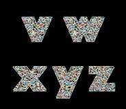 Collage del literas- de V, de W, de X, de Y y de Z de las fotos del recorrido Foto de archivo